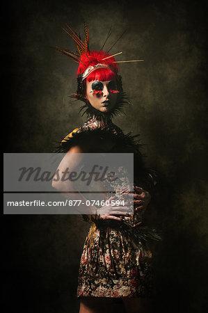 Portrait of a neo baroque woman in smoke