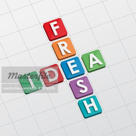 fresh idea, crossword - text in flat design, business creative concept