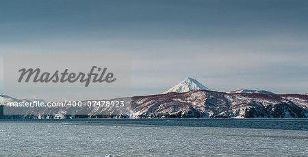 Vilyuchinsky volcano and Avacha bay. Petropavlovsk-Kamchatsky, Kamchatka, Russia