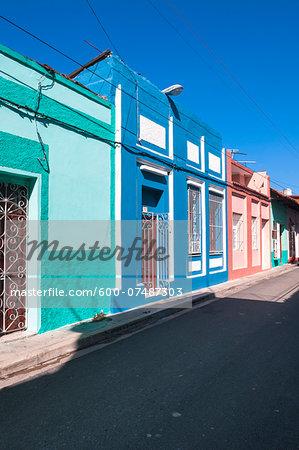Colorful buildings, street scene, Sanctis Spiritus, Cuba, West Indies, Caribbean