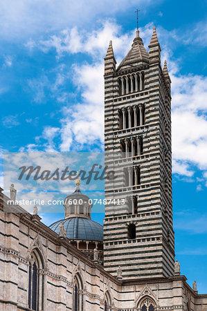 Close-up of tower at Duomo di Siena, Province of Siena, Siena, Tuscany, Italy
