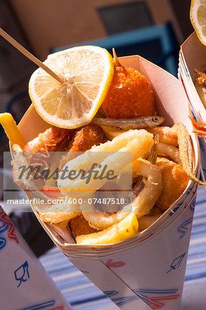 Deep Fried Seafood and Chips, Riomaggiore, Cinque Terre, La Spezia District, Italian Riviera, Liguria, Italy
