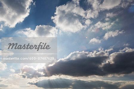 Sun and Clouds in Sky, Kaarst, North Rhine-Westphalia, Germany