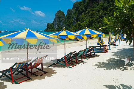 Beachchairs, Koh Phi Phi, Thailand.