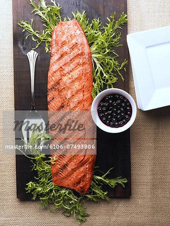 Cedar Plank Salmon Side w/Blueberry Compote