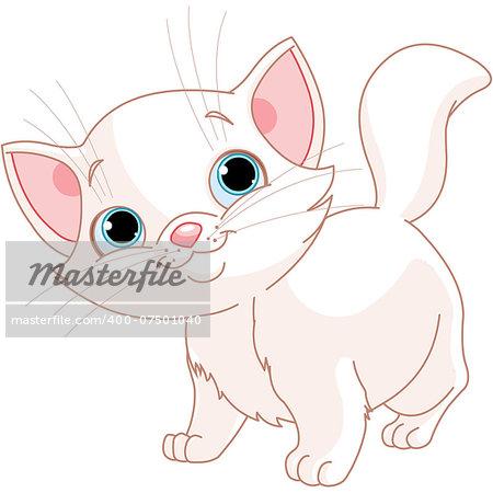 Illustration of adorable white kitten