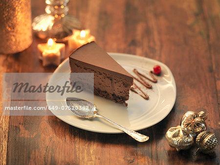 Chocolate and chestnut torte amongst festive decorations
