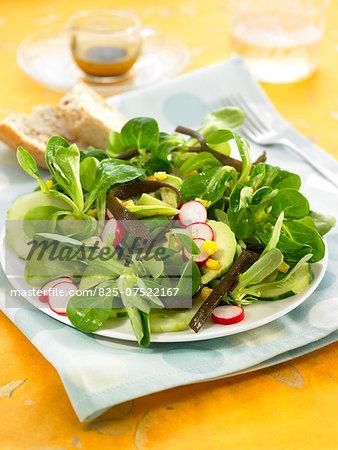 Corn lettuce,sea thong,avocado,radish and cucumber salad