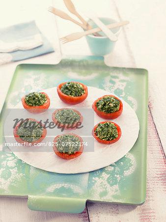 Tomatoes stuffed with pesto