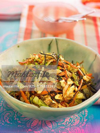 Carrot,leek,white cabbage,zucchini,arame and walnut stir-fry