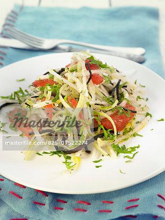 Grated celeriac and turnip, hijiki seaweed,tomato and parsley salad