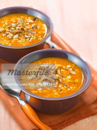 Orange lentil soup with roasted hazelnuts