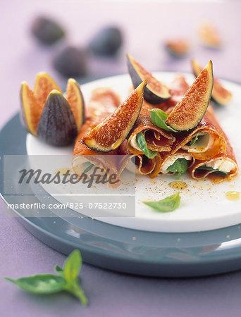 Raw ham and mozzarella rolls with fresh figs