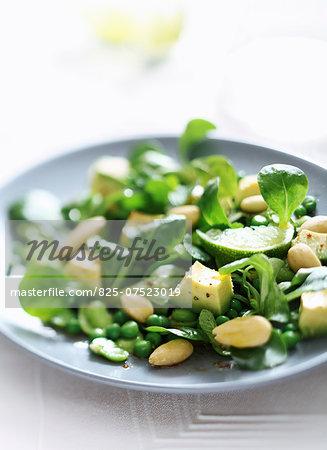 Pea,broad bean,avocado,corn lettuce and almond salad