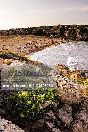 Calamosche Beach at sunset, near Noto, Vendicari Nature Reserve, South East Sicily, Italy, Mediterranean, Europe