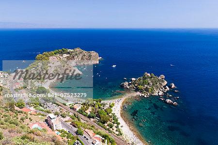 Isola Bella Island and Isola Bella Beach, Taormina, Sicily, Italy, Mediterranean, Europe