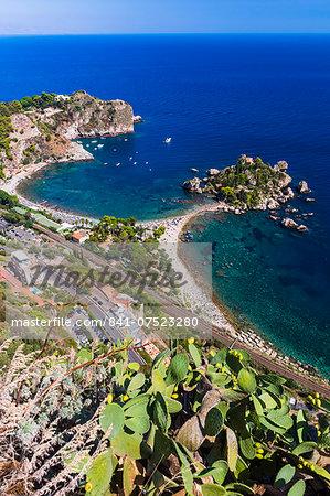 Isola Bella Beach seen from Taormina, Sicily, Italy, Mediterranean, Europe