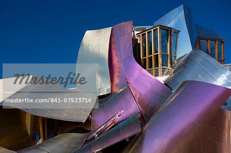 Hotel Marques de Riscal Bodega, futuristic design by architect Frank O Gehry, at Elciego in Rioja-Alavesa area of Spain