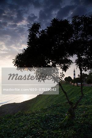 Miraflores Lighthouse, Parque Raimondi along Malecon Cisneros, Miraflores, Lima, Peru