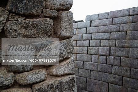 Close-up of Stone Walls, Machu Picchu, Urubamba Province, Cusco Region, Peru