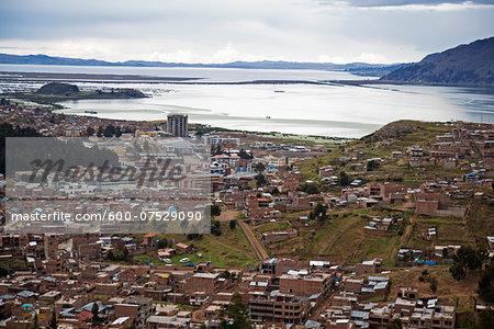 Overview of Puno and Lake Titicaca, Peru