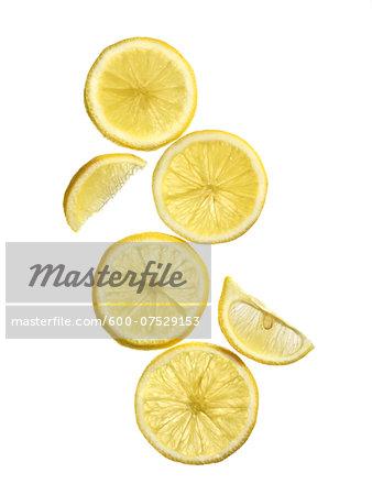 Lemon slices on white background, studio shot