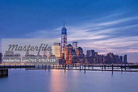 City Skyline Illuminated at Dawn with One World Trade Centre, Lower Manhattan, New York City, New York, USA