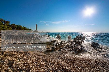 Waves crashing on the beach, Dugi Otok, Dalmatia, Croatia