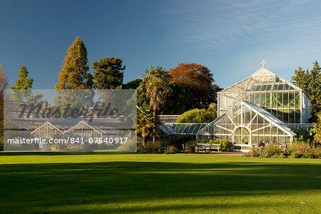 The glasshouses on an autumn day in The Cambridge Botanic Garden, Cambridge, Cambridgeshire, England, United Kingdom, Europe