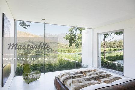 Modern bedroom overlooking rural landscape