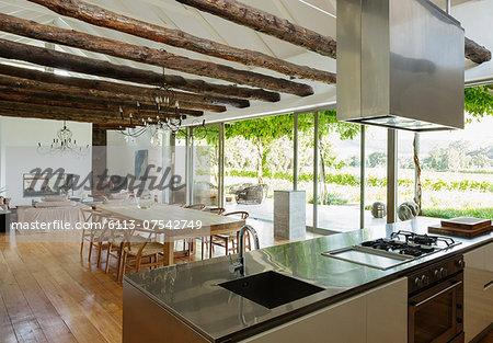 Open floor plan in luxury house