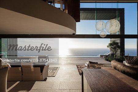 Modern house overlooking ocean