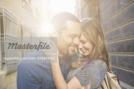 Tourist couple hugging, Valencia, Spain