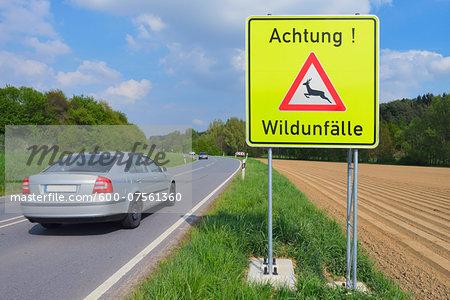 Car Passing Deer Crossing Sign, Odenwald, Hesse, Germany