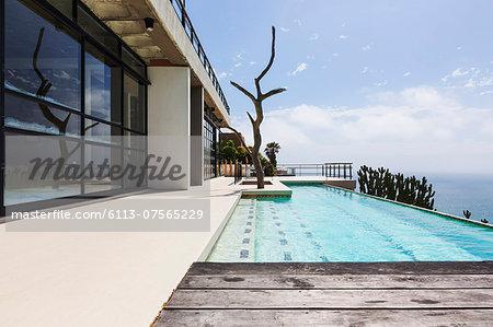 Luxury lap pool overlooking ocean