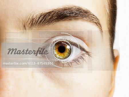 Extreme close up of retina scanner over hazel eye