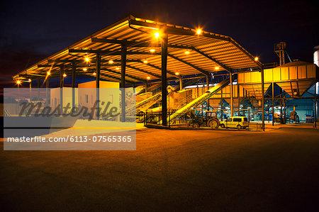 Illuminated granary at night