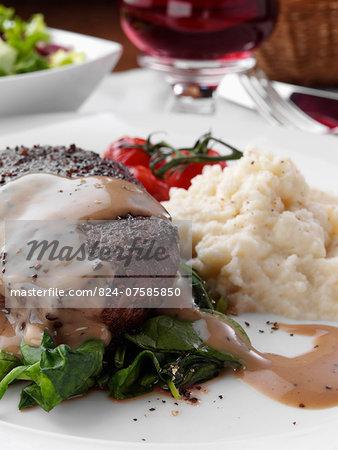 Peppered fillet steak with celeriac puree Marco Pierre White recipe