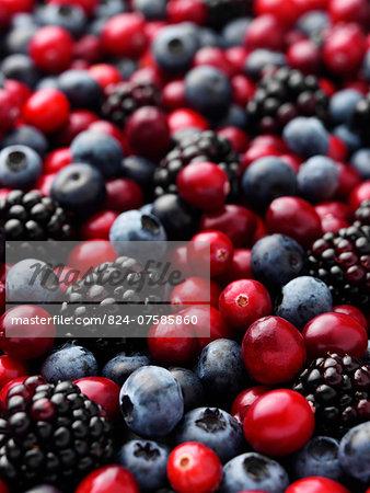 Cranberries blackberries and blueberries entire frame