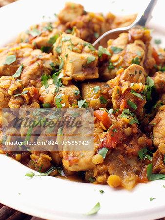 Chicken dhansak with lentils