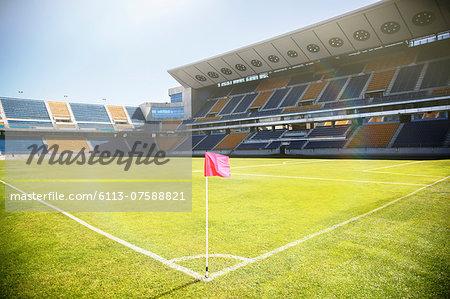 Empty soccer field and stadium