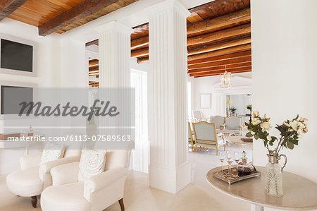 Luxury living room with pillars