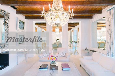 Illuminated chandelier over luxury living room