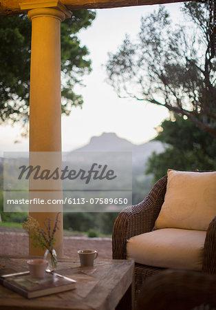 Wicker armchair on luxury patio