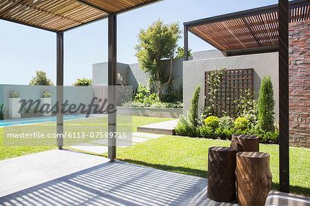 Sunny modern backyard