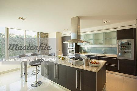 Sunny modern domestic kitchen