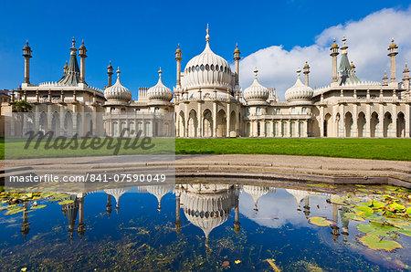 Brighton Royal Pavilion with reflection, Brighton, East Sussex, England, United Kingdom, Europe
