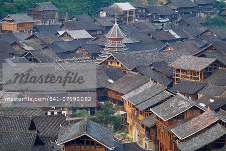 Drum Tower at Rongjiang, Guizhou Province, China, Asia