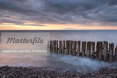 Wooden groyne on Bossington Beach at sunset, Exmoor, Somerset, England, United Kingdom, Europe