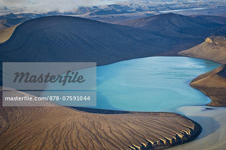 Glacial lake, (aerial) Landmannalaugar, Iceland